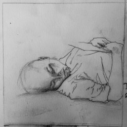 Jas and a record 10x10 : Soft pencil and charcoal. David Hockney study. February 2015