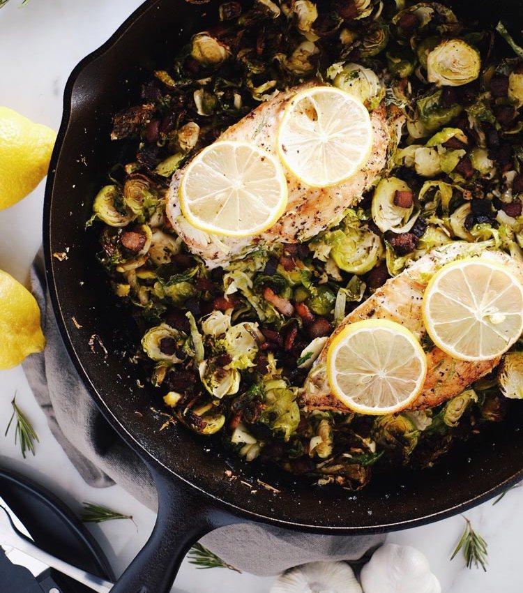Chicken Skillet with Bacon Brussels Sprouts