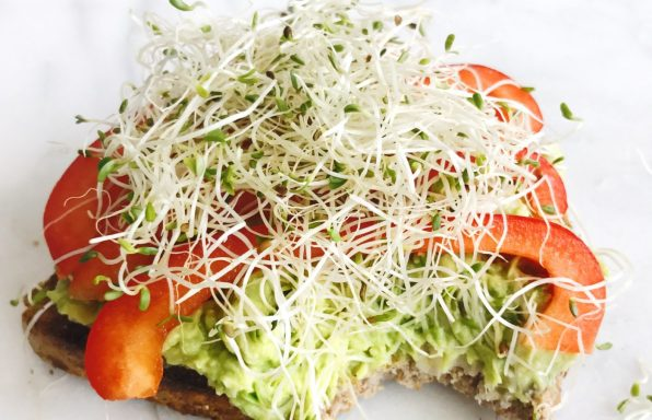Smashed White Bean and Avocado Open-Face Sandwich