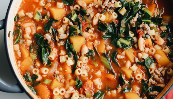 Hearty Fall Minestrone Soup With Italian Sausage And Butternut Squash