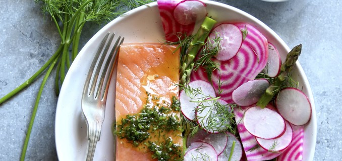 Spring Salad With Radish,chioggia Beet,asparagus With A Piece Of Smoked Salmon And Dill Dressing On A Plate