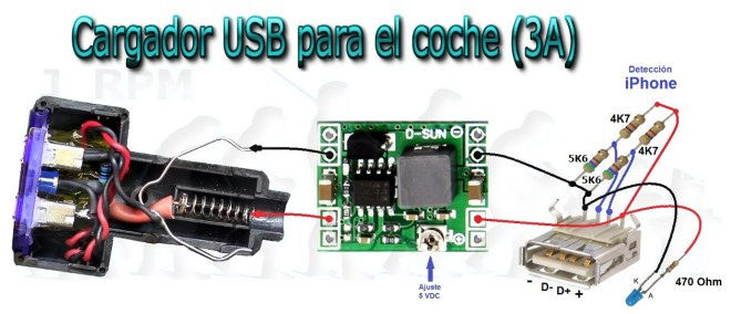 Cargador de tipo mechero para iPhone