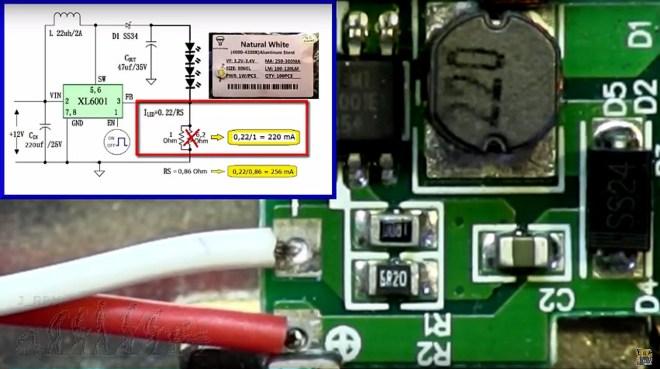 Ajuste de corriente del foco LED