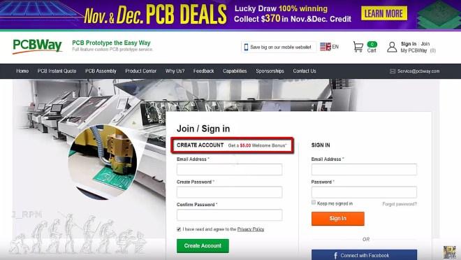 Abrir una cuenta en PCBWay