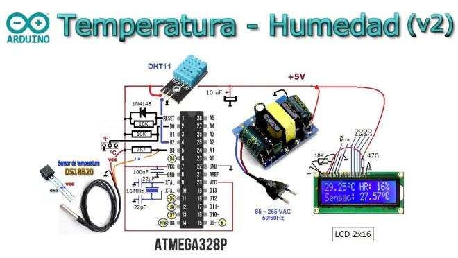 Temperatura, humedad y sensación térmica con dos sensores.