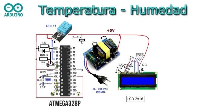Esquema del medidor de temperatura, humedad y sensación térmica