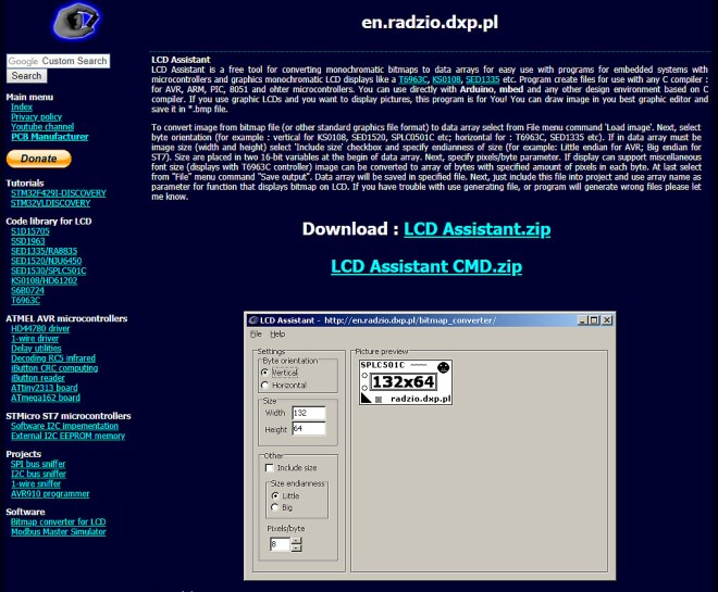 Software: LCD Assistant