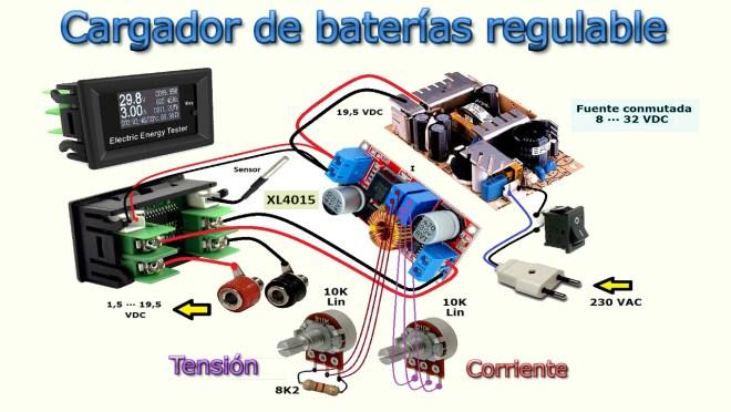 Cargador de baterías regulable