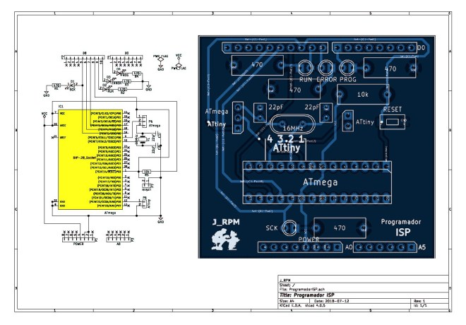 Esquema + PCB: Programador ISP