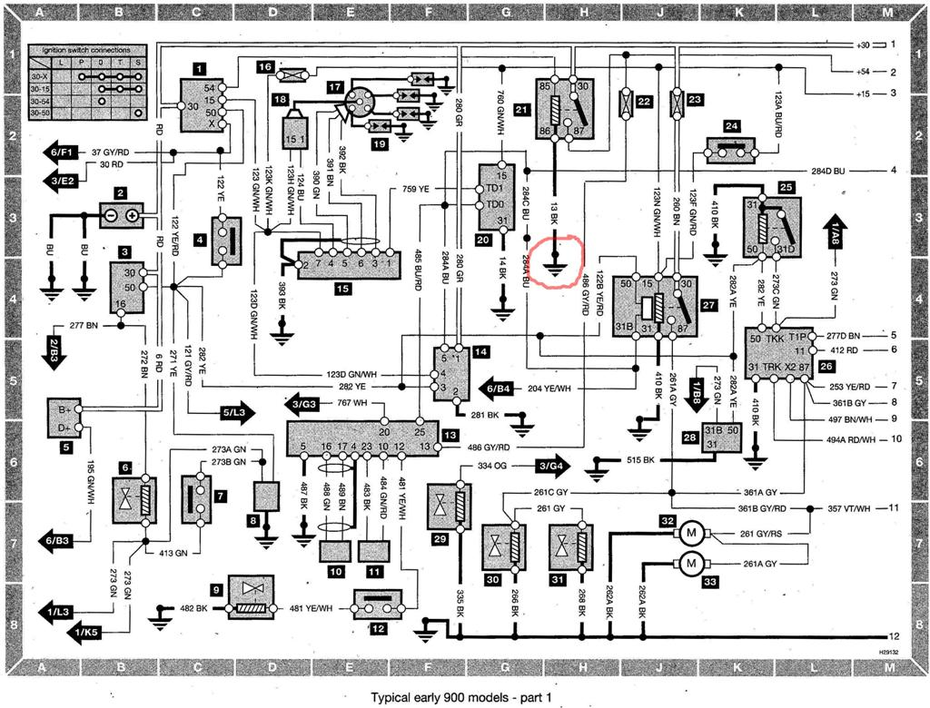 Saab 900 Wiring diagram (early models) part 1 (mod) saab 9 5 wiring diagram telematics wiring schematic \u2022 wiring saab 900 wiring diagram pdf at aneh.co