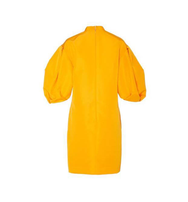 EMBROIDERED SILK POPLIN MINI DRESS