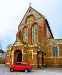 The Mini in front of St. James Church, Milton.