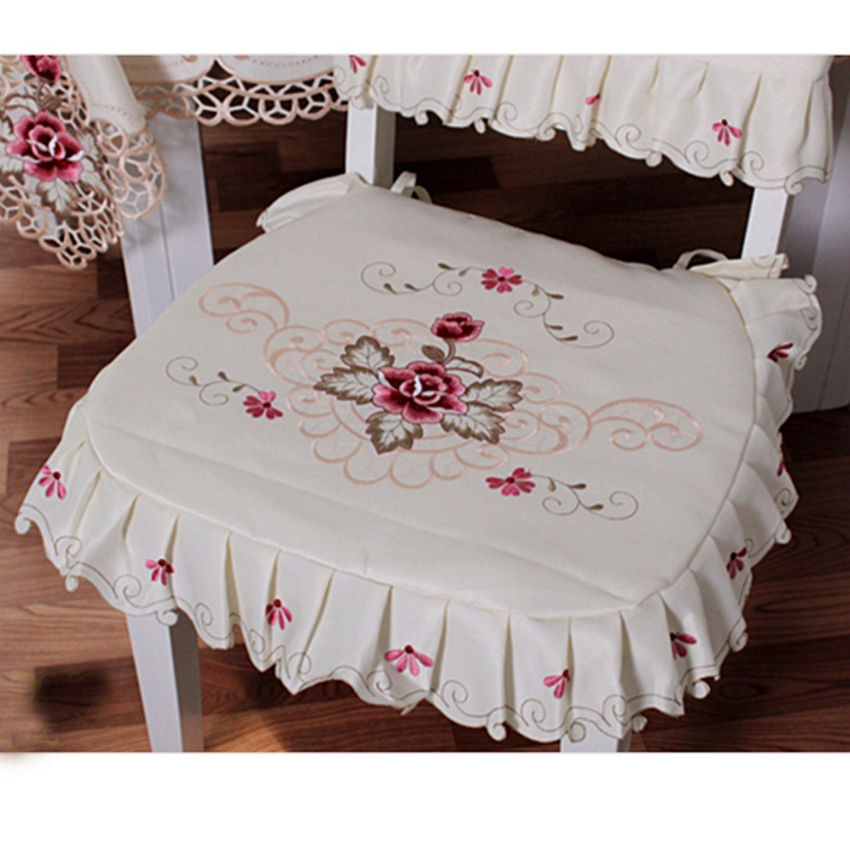 dining room chair seat cushion covers chairperson vintage flower embroidered tie on ruffle pad