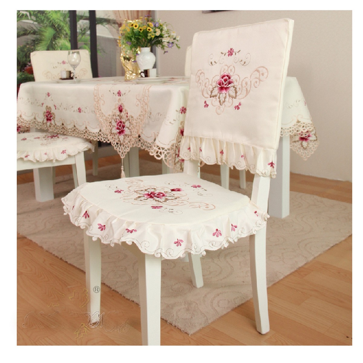 dining room chair covers on ebay tub ikea vintage flower embroidered tie seat cushion ruffle pad