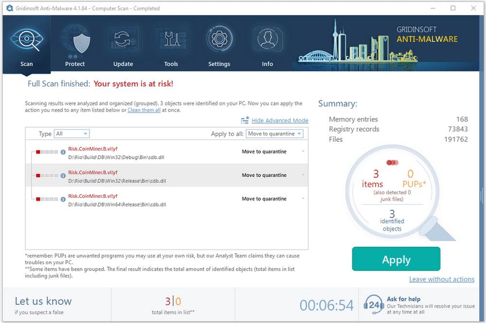 Gridinsoft Anti-Malware full scan result