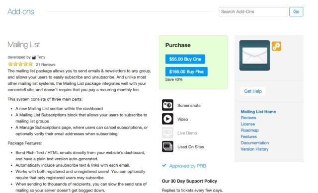 concrete5 Marketplace Mailing List