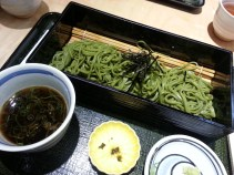 Matcha (green tea) flavoured soba noodles. There are so many matcha flavoured things, such as chocolate, beverages, sake (alcohol), pastries and ice cream.