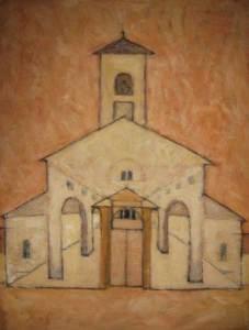 Goeder Herderkerk, Laren, acryl 100 x 70 cm