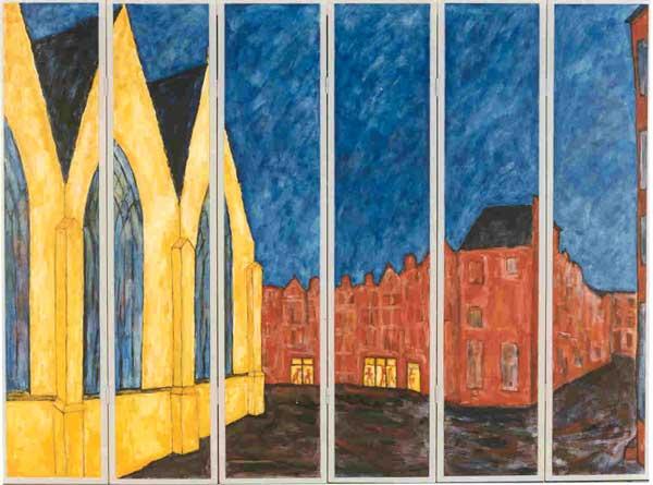 Kamerscherm Oude Kerksplein Amsterdam, acryl, 180 x 240 cm