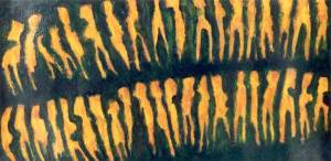 Mensenspoor, olieverf 37 x 100 cm