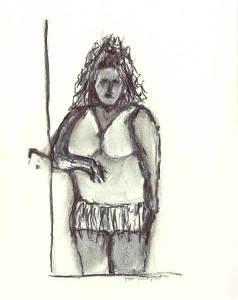 Vrouw 70 - houtskool, 25 x 20 cm