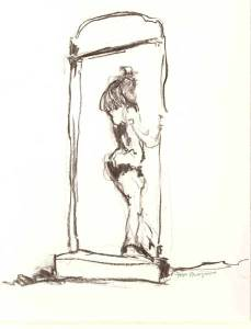 Vrouw 75 - houtskool, 25 x 20 cm