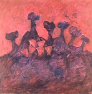 Wilgenbomen met koeien, olieverf 80 x 80 cm