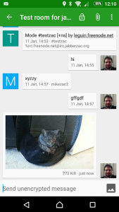Screenshot of the app Conversations interacting with an IRC channel.