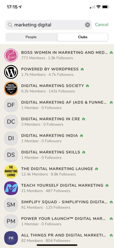 Salas sobre Marketing Digital no Clubhouse