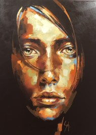Oil of a girl by Solly Smook