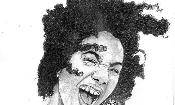 Rising star artwork, drawing of clady with curly hair