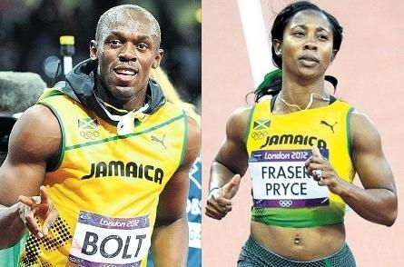 Usain Bolt Shelly Ann Fraser Golden Cleats