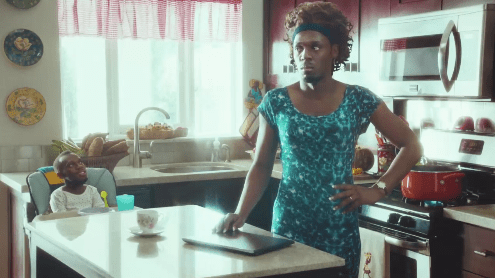Usain Bolt as lady in commercial