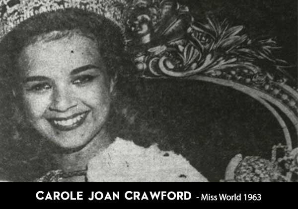 Carole Joan Crawford Miss world winner from Jamaica countries who won Miss World the most Jamaica
