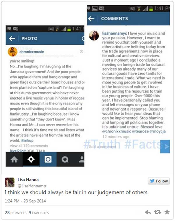 Lisa Hanna Chronixx tweet what they said