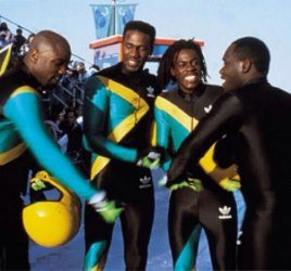 Members of the cast of 'Cool Runnings', the popular Disney Film about the exploits of the Jamaica bobsled team at the Winter Olympics in 1988 - Image via latimes.com