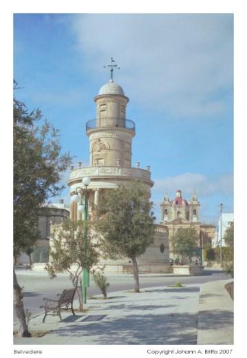 Belvedere tower and new (1780's) village church, Lija