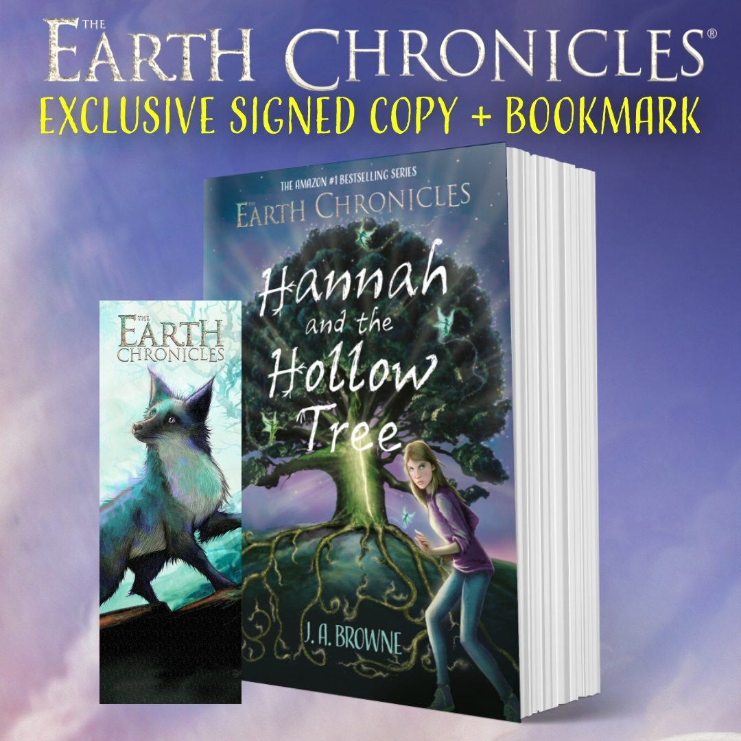 Copy of Hannah and the Hollow Tree paperback with bookmark of Alpha the silverback fox