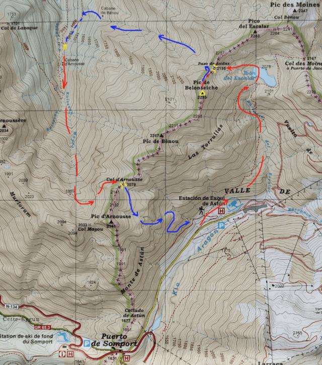 Mapa ruta Circular Astun - Belonseiche - Arnousse
