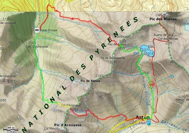 Mapa ruta circular hacia las cabañas de Aronuosse