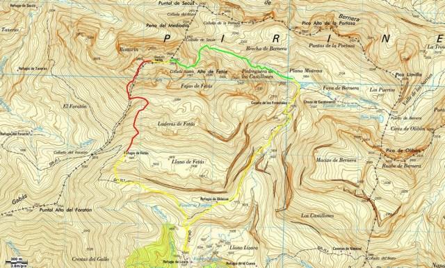 Mapa de la salida al Bisaurin