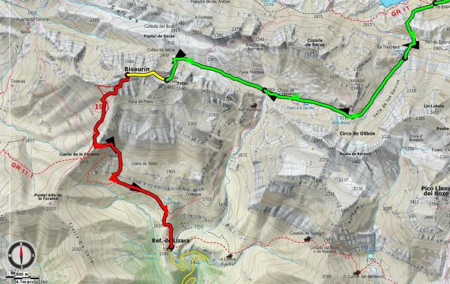 Mapa Valle de los Sarrios - Bisaurín - refugio Lizara