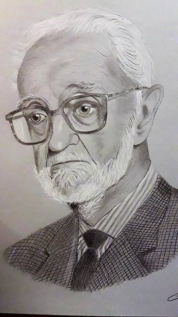 Retrato de JL Sampedro por Antonio Callau
