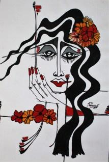 Flores en el pelo. Acrílico. Miriam Palacios