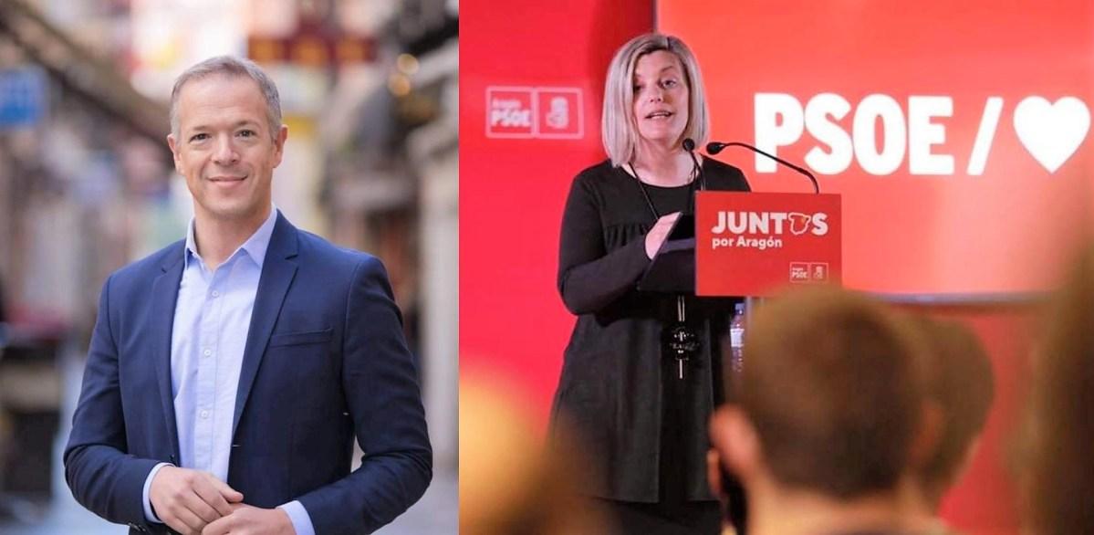 Acto público del PSOE en Jaca con Ander Gil, Begoña Nasarre y Gonzalo Palacín