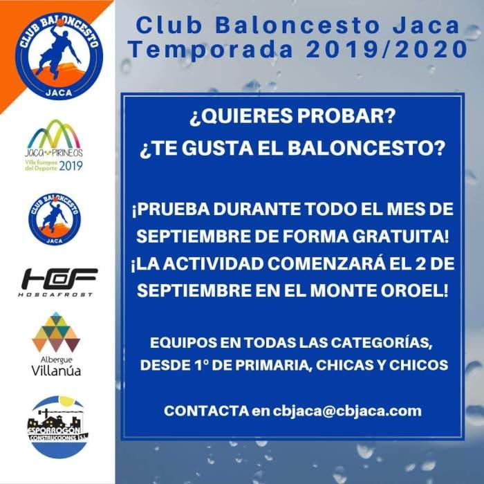 CLUB BALONCESTO JACA. Puertas abiertas durante todo el mes de septiembre.