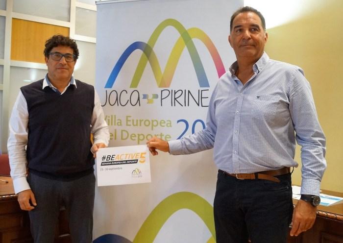 BEACTIVE. Un momento de la presentación, con Quique Pérez y Domingo Poveda. (FOTO: Rebeca Ruiz)