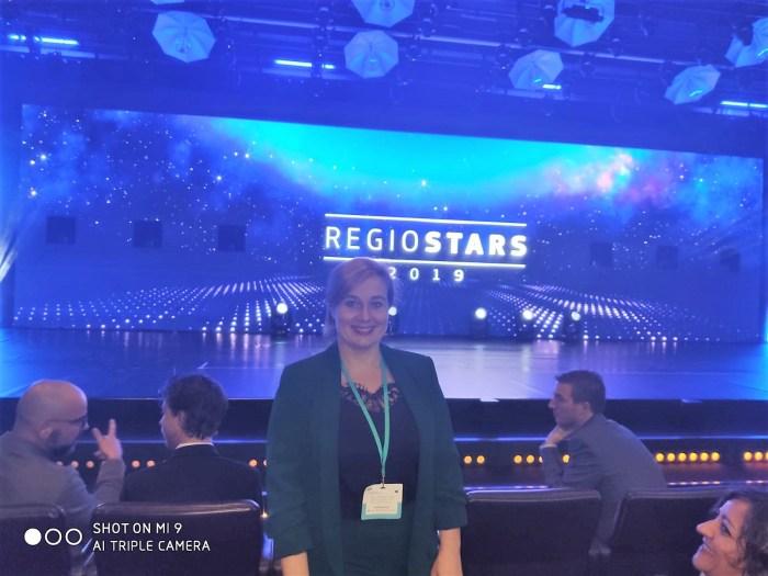 RegioStars 2019. Olvido Moratinos, en Bruselas. (FOTO: Ayuntamiento de Jaca)