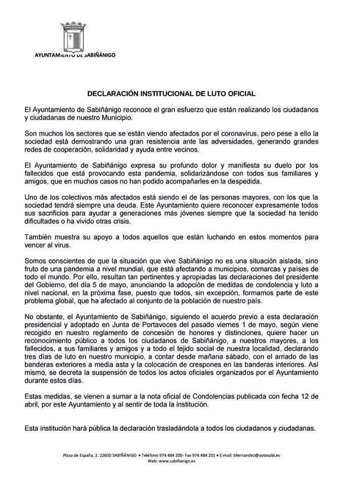 SABIÑÁNIGO. Declaración institucional de luto oficial.