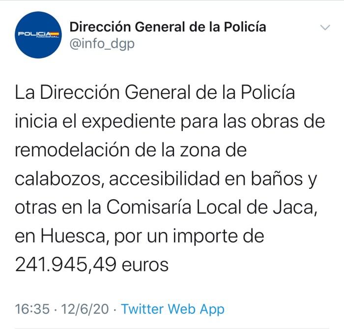TWITTER. Anuncio de la Dirección General de la Policía para la Comisaría de Jaca.